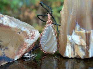 Flint talisman, copper wire wrapped, stone pendant