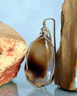 Transparent Agate crystal, silver wire wrapped, charm pendant