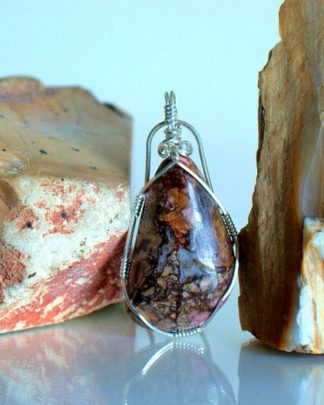 Brown veined mineral, Rhodonite pendant necklace