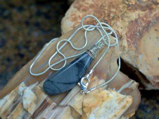 Picasso Jasper, gray stone pedant, necklace