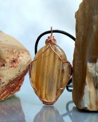Striped yellow gemstone, oval shape agate pendant