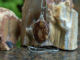 Semi precious gemstone, Biggs Jasper pendant necklace