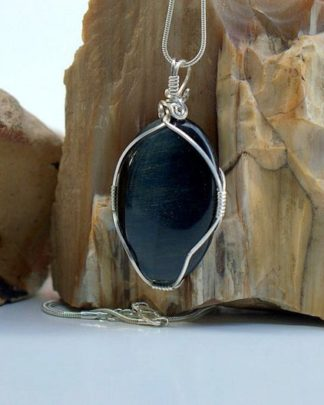 Good luck stone, blue Tiger eye necklace