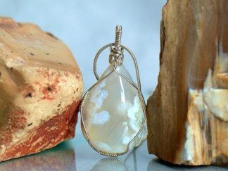 White agate crystal, silver wire set pendant