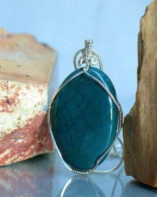 Green polished stone, Jasper pendant necklace