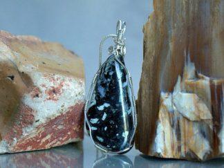 White quartz pattern, Dallasite necklace pendant