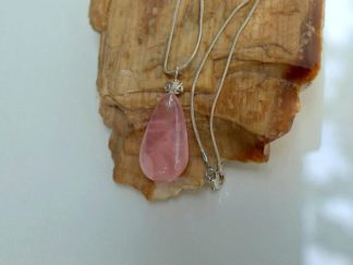 Transparent crystal, Rose quartz pendant necklace