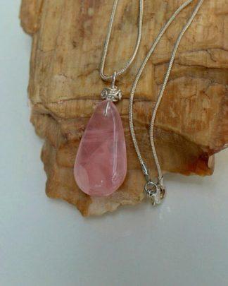 Transparent crystal, Rose quartz pendant necklace