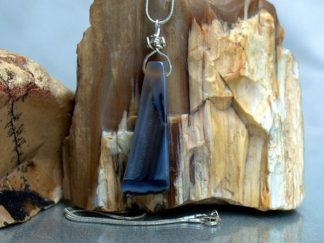 Thunder egg, blue agate geode, pendant necklace