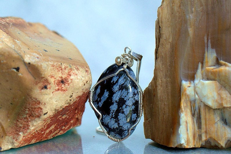Black volcanic glass, Snowflake Obsidian necklace