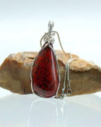 Hand polished stone,silver set,red Jasper pendant