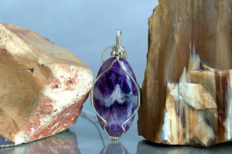 Chevron Amethyst, purple crystal, oval shape pendant
