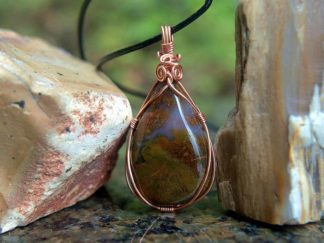 Red Moss Agate, copper wire set, teardrop pendant