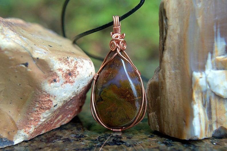 Red Moss Agate, copper wire set, teardrop pendant