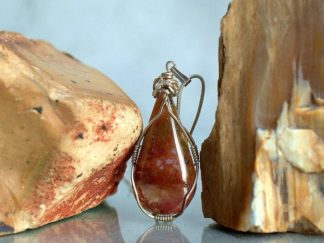 Red natural stone, Moss agate pendant