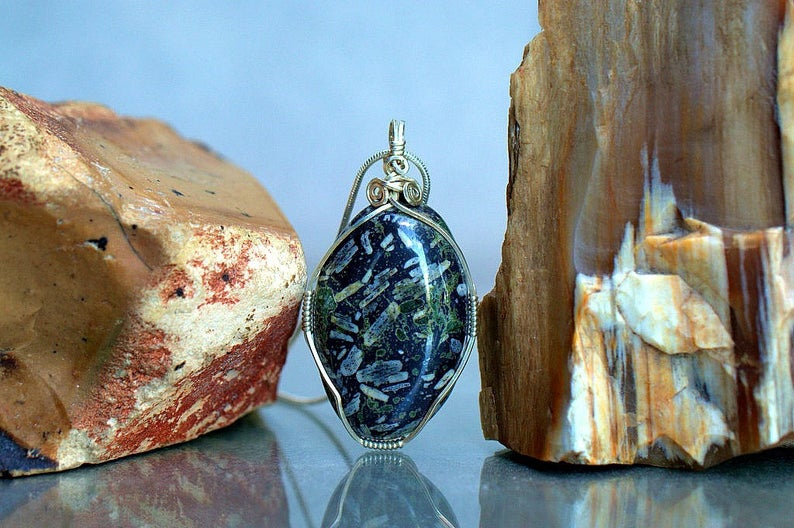 Chinese writing stone, silver wire wrapped pendant