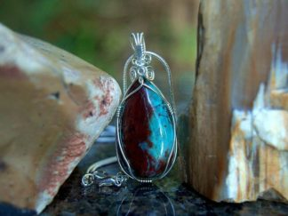 Arizona Chrysocolla, light blue mineral pendant