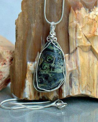 Green Kambaba Jasper, large stone necklace