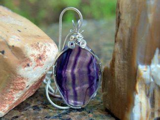 Rainbow Fluorite pendant, crystal necklace