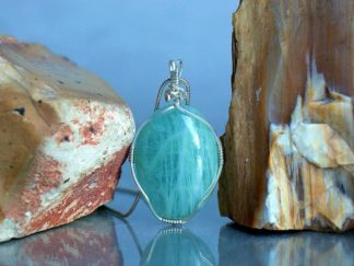 Silver wire wrapped, large Aquamarine pendant