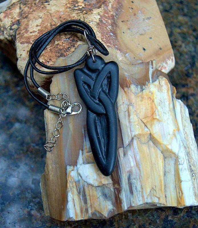 Argillite pendant, hand carved stone necklace