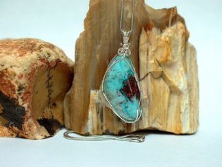 Blue green Chrysocolla, Arizona mineral necklace