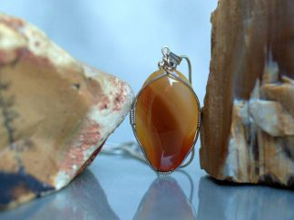 Silver wrapped agate, brown stone jewelry
