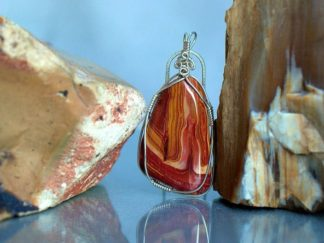 Red Wonder stone, silver set pendant necklace