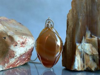 Large size stone necklace, brown agate pendant