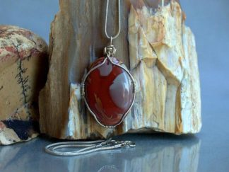 Banded red stone, Noreena Jasper oval pendant