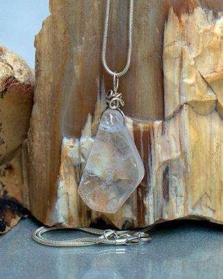 Clear Quartz pendant, silver wire set crystal necklace