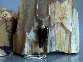 Mahogany Obsidian, black stone charm necklace