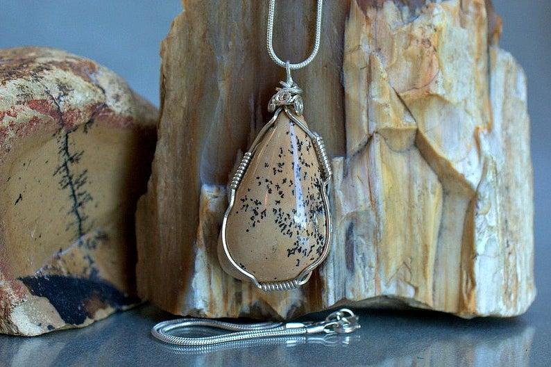 Ivory Jasper pendant, free form shape gemstone necklace