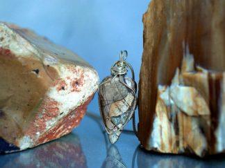 Mushroom Rhyolite, arrowhead style pendant