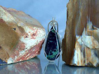 Capricorn birthstone, blue mineral pendant