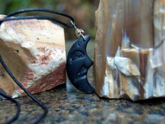 Stone moon pendant, carved Argillite necklace