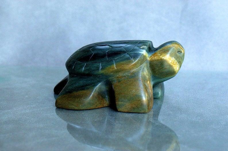 Turtle carving, soapstone figurine