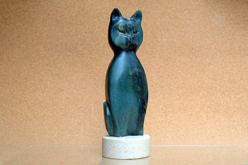 Soapstone abstract,green cat figurine