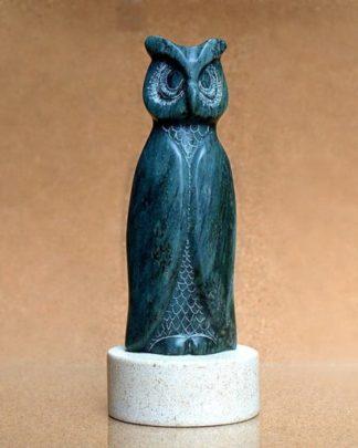 Green soapstone owl figurine
