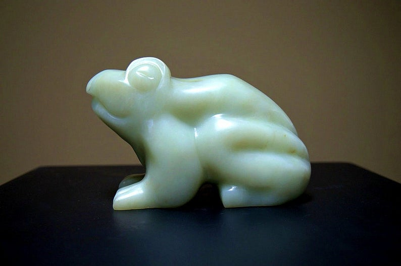 Green frog sculpture
