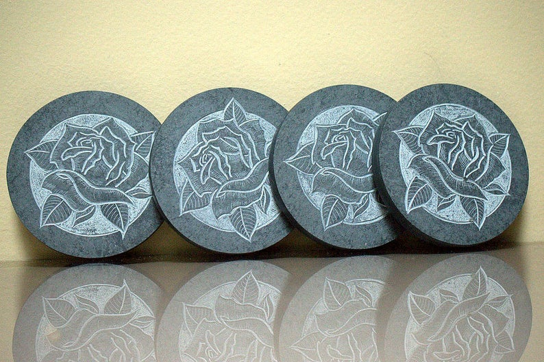 Natural Slate,rose style,black stone coasters
