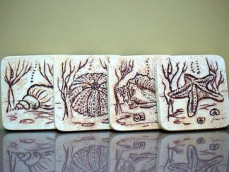 Marine life design, carved stone coaster