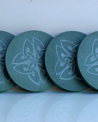 Four leaf clovers,Celtic symbols,carved coasters