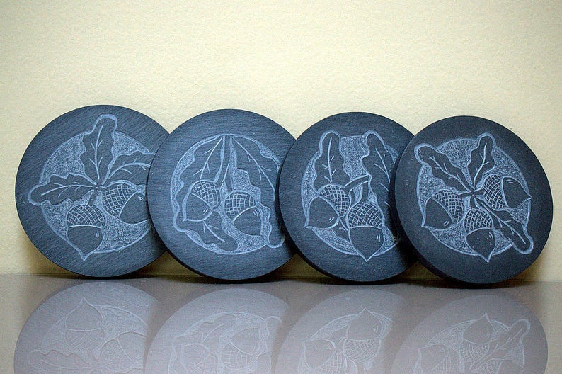 Hand carved,Acorn design,black Slate,stone coasters