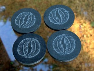 Feather design,hand carved,black stone coasters