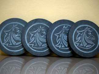 Carved horse coaster,black slate stone