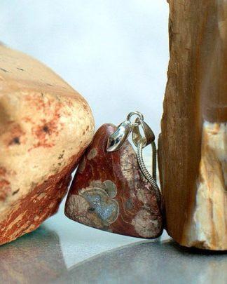 Triangle shape pendant, Mushroom Rhyolite,charm necklace
