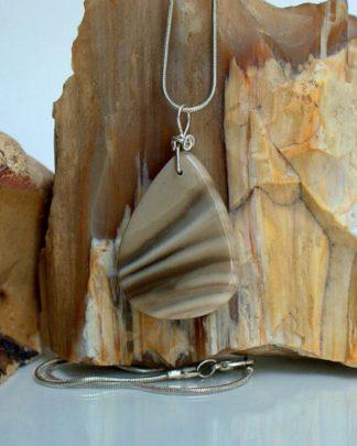 Stone of optimism, striped Flint charm, talisman necklace