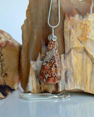 Crazy lace Agate, free form shape pendant necklace