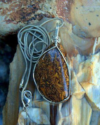 Script stone pendant, Austral jasper necklace